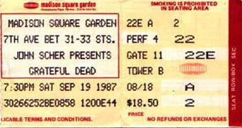September 19, 1987 MSG Ticket