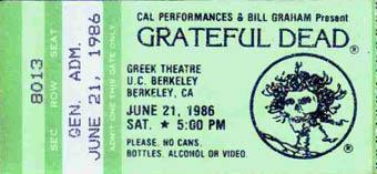 June 21, 1986 Greek Theatre Ticket