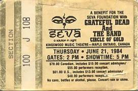 June 21, 1984 Maple Ontario Ticket