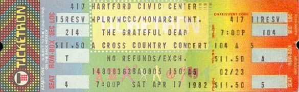 April 17, 1982 Hartford Civic Ticket