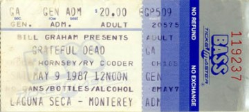 May 9, 1987 Laguna Seca Ticket