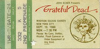 September 19, 1988 MSG Ticket