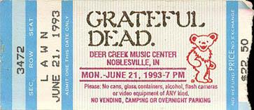 June 21, 1993 Deer Creek Ticket